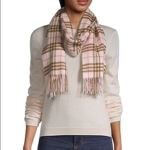 Burberry Pink Brown Plaid 100% Cashmere Scarf